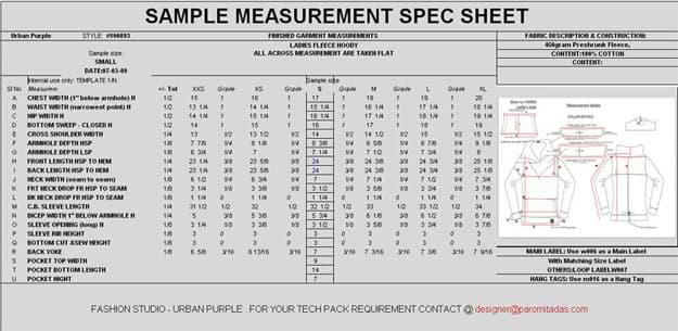 Preparing Garment Measurement Specification Sheet
