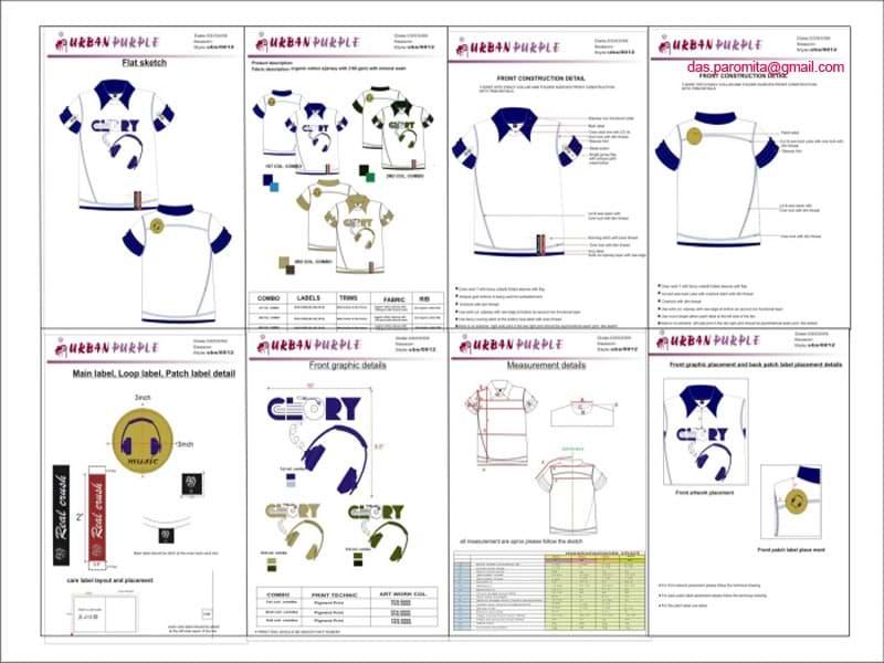 Clothing Designer Tech Pack Design