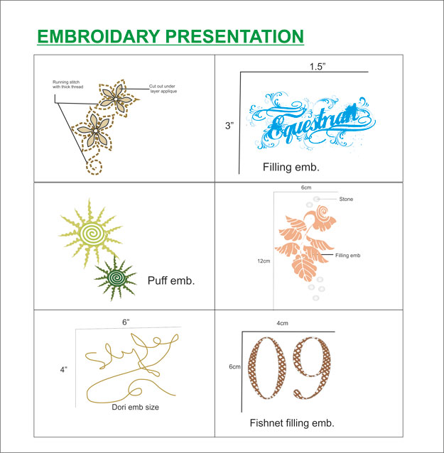 Embroidery design in tech packs clothing designer Fashion embroidery designs